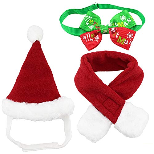 Wiz BBQT Dog Cat Pet Santa Hat Scarf and Collar Bow Tie Christmas Costume for Puppy Kitten Small Cats Dogs ()