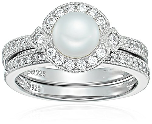 Platinum Plated Sterling Silver Swarovski Zirconia Cultured Freshwater Pearl Milgrain Bridal Ring Set, Size (Pearls Bridal Wedding Ring)