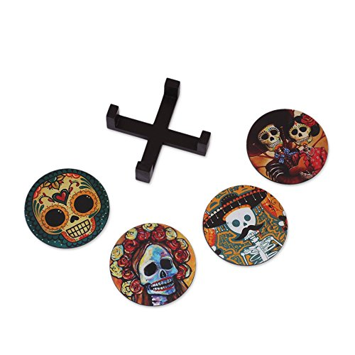 NOVICA Multicolor Paper and Wood Coasters 'Festive Catrina' (set of 4) -