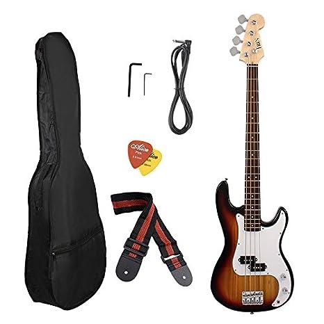 Guitarra eléctrica de arce de 5 colores opcional con cuerpo y cuello con bolsa portátil: Amazon.es: Instrumentos musicales