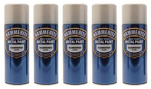 Hammerite Aerosol (5x Hammerite Hammered Silver Metal Spray Paint 400ml x5 Aerosol Tins by Hammerite)