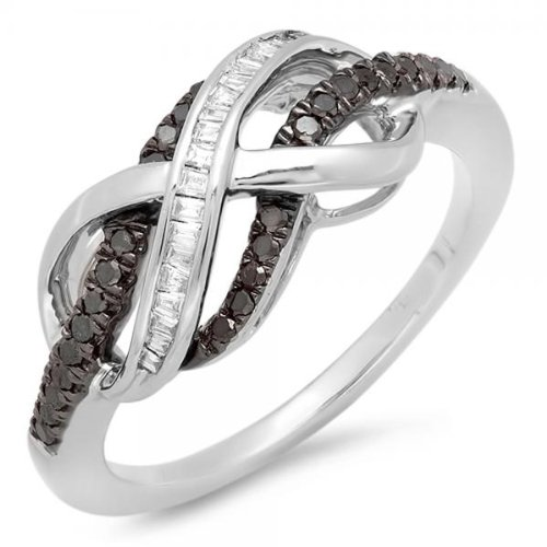 0.20 Carat (ctw) Sterling Silver Black & White Diamond Swirl Infinity Two Tone Wedding Ring 1/5 CT