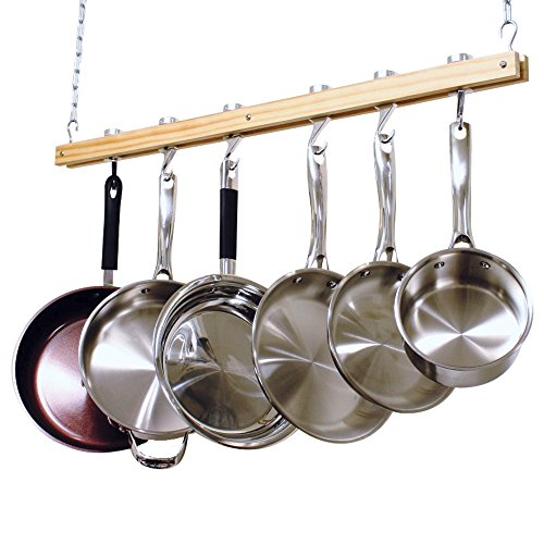 Cooks Standard NC-00269 Single Bar, 36-Inch Ceiling Mounted Wooden Pot Rack, Brown (Renewed) ()