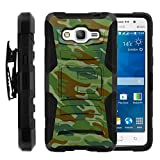 TurtleArmor | Compatible for Samsung Galaxy Grand Prime Case | G530 [Hyper Shock] High Duty Proof Belt Clip Cover Gel Hard Combo Camouflage Case Kickstand - Green Beret Camouflage