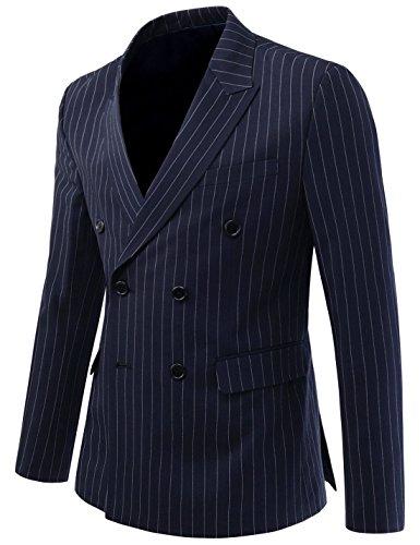 DETYLISH SHJ479 Men Slim Fit Pin Stripe Blazer Peaked Lapel Double Suit Jacket Navy US L(Tag Size 2XL) (Blazer Pinstripe Navy)