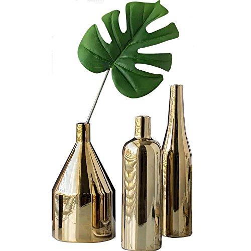Gold Vases (Decor Vases Set,Gold Metallic Vase, Set of 3)
