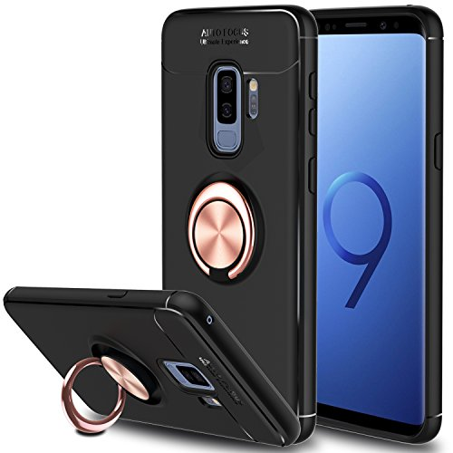 Galaxy S9 Plus Case, Elegant Choise Hybrid Slim Durable Soft 360 Degree Rotating Ring Kickstand Protective Case with Magnetic Case Cover for Samsung Galaxy S9 Plus (Gold)