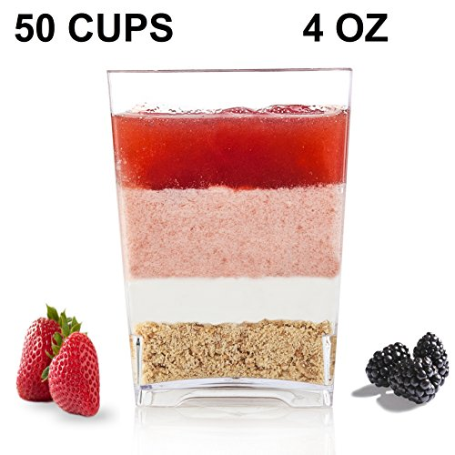 Premium Square Plastic Dessert Cup ( 4 oz ) made from Durable Crystal Clear Plastic by Oasis Creations ( 50 Count )