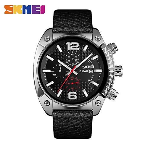 Cool Wristwatch Supply, Men's Watch Luxury Quartz Male Sports Watches Genuine Leather Band 9190