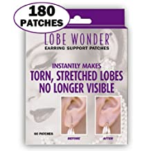 Invisible Earring Ear-Lobe Support Patches - Provides Relief for Damaged, Streched Ear-Lobes and Helps Protect Healthy Ear Lobes Against Tearing (180 Pack)