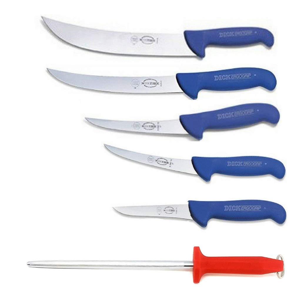 F. Dick Ergogip Butchers Knife Gift Set - Cimeter, Breaking, Boning Knives - with Bonus MC Cutlery German Made 10
