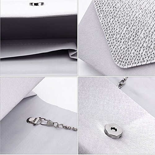 Jubileens Ladies Large Evening Satin Bridal Diamante Ladies Clutch Bag Party Prom Envelope (Silver) by Jubileens (Image #1)