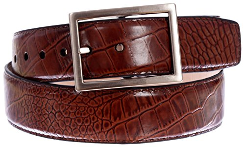 PGA TOUR Men's Croc Embossed Leather Belt with Silver Tone Buckle (Cordovan, 36)
