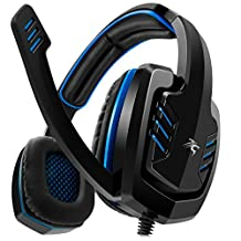 Sentey Gaming Headset Blue Arrow Analog 3.5mm In-line Volume Control & Computer Headset with Microphone Gaming Headphones Headphone Pc, Mac or Laptop, Tablet, Mobile Phones / Headset with Mic Heavy Duty Braided 2 Meters Cable / Leather Padded Ear Pads with Passive Noise Canceling / Computer Gaming Headset Ergonomic Adaptive Leather Headband (Extreme Comfort) - Computer Gaming Headset Stereo Left and Right Drivers 40mm / Cap Connector / Computer Headset to Work and Play / Skype Headset - Gaming Headsets for Chat and Play Gs-4520