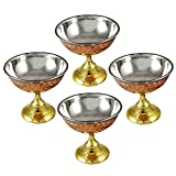 PARIJAT HANDICRAFT Pack of 4 Ice Cream Cup Bowl with Stand Copper Stainless Steel Tableware for Desserts.