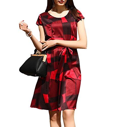 Seide Rot Kleid Cocktail DISSA S9972 Long Damen Gestreift Abendkleid Kleider Übergröße Knee 0HPBxw