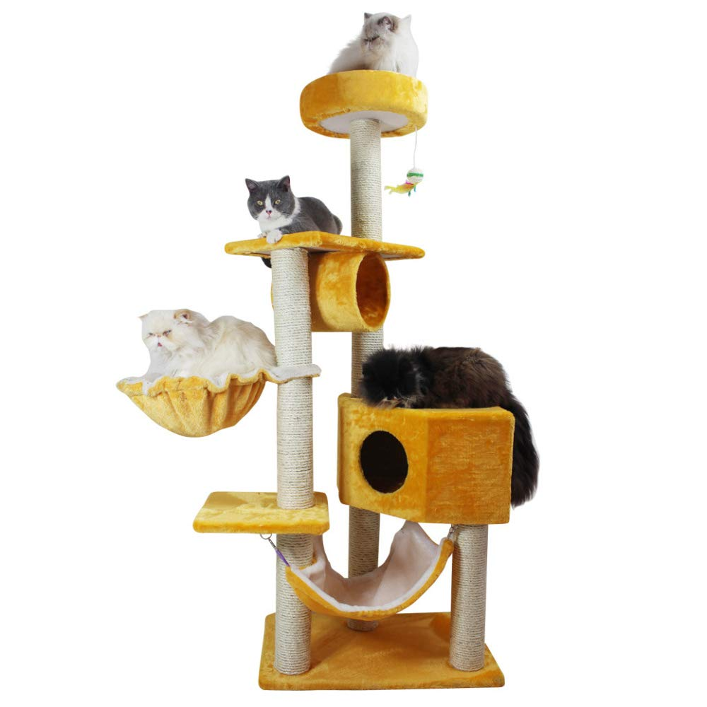 golden ZHENGDY Cat Climbing Frame,Large Sisal Cat Climbing Frame Deluxe Cat House Plush Cat Tower,Dangling Mice Toys,Yellowstripes