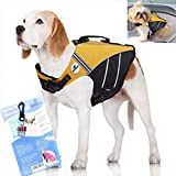 SeaDog Pro Dog Life Jacket (XL) with Clip-On Water Activated LED Safety Strobe - Quick Release Doggy Life Preserver - High Quality Adjustable Pet Life Vest. Tough Hi-Vis Nylon - Reflective Trim, Strong Grab Handle -Best Dog Flotation Vest on Amazon offers