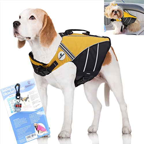 SeaDog Pro Dog Life Jacket (XL) with Clip-On Water Activa...