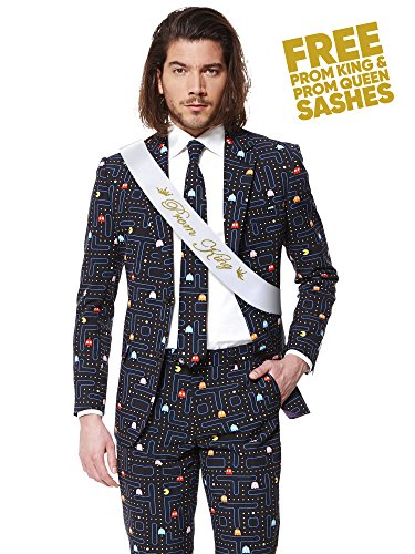 Opposuits Fancy Colored Suit For Men Now With Free Prom King and Prom Queen Sash,Pac-manTM,US44 by Opposuits