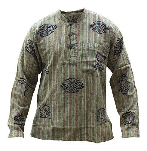 Grün Steinwäsche Opa Baumwolle Hemd ,Bunt,Hippie Kleidung,Boho