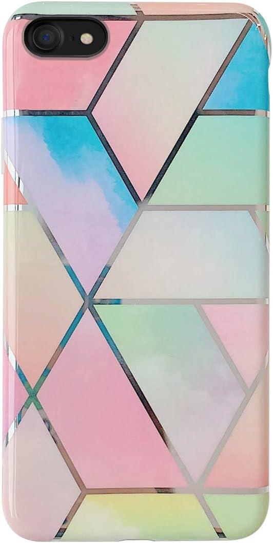 Oihxse Compatible para iPhone 7 Plus/iPhone 8 Plus Funda de Mármol Cristal Patrón Suave Silicona TPU Flexible Gel Protectora Carcasa Ultra Fina Anti Choque Protección Cubierta Caja (Colorido)