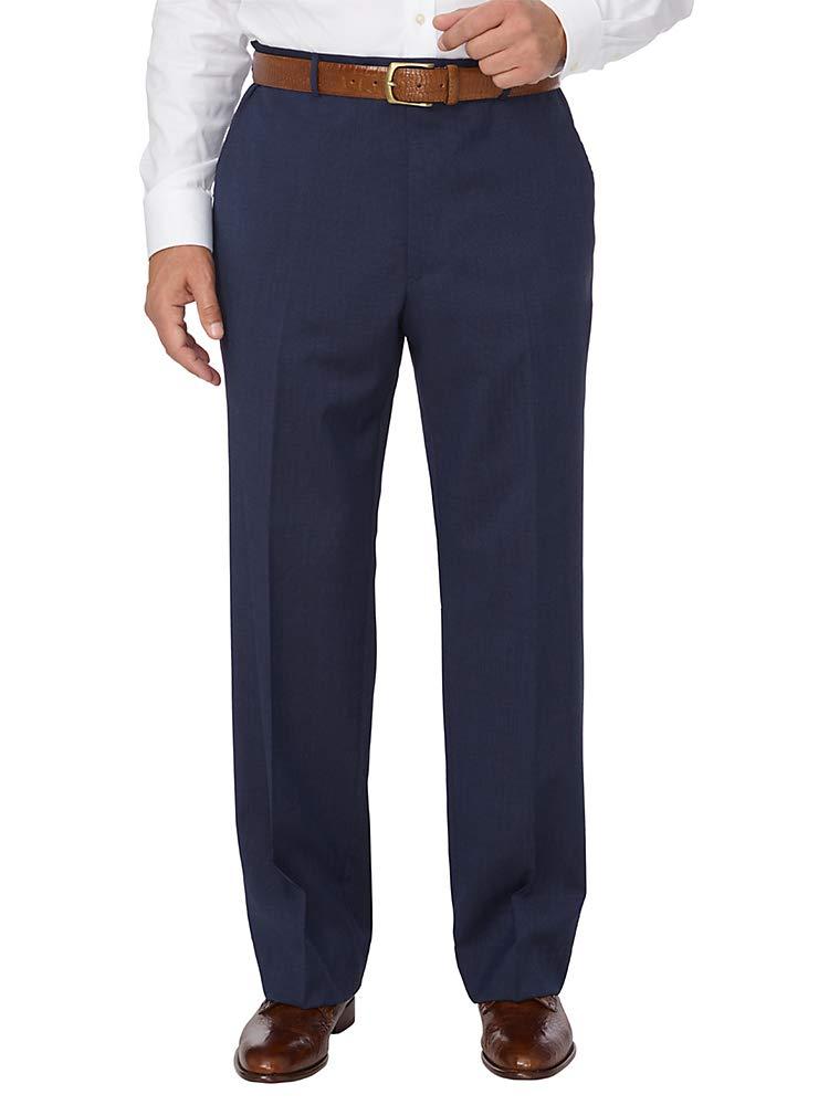 Paul Fredrick Men's Italian Washable Wool Flat Front Pant Navy 46