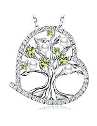 "❤️ Tree of Life ❤️ August Birthstone LC Green Peridot Necklace Birthday Gifts for Women White Pearl Sterling Silver Jewelry 20"" Chain"