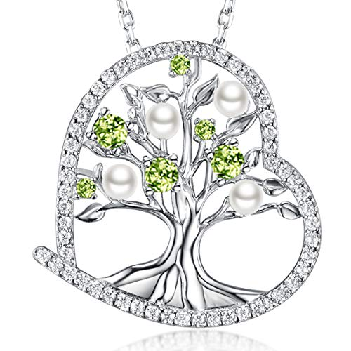 Tree of Life July August Birthstone LC Ruby Peridot Necklace Birthday Gifts for Women White Pearl Sterling Silver Jewelry 20 Chain