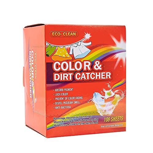 Dye Trapping Sheets, 108 Count Color Catcher for Laundry, Prevent Light Colored Clothes from Being Dyed
