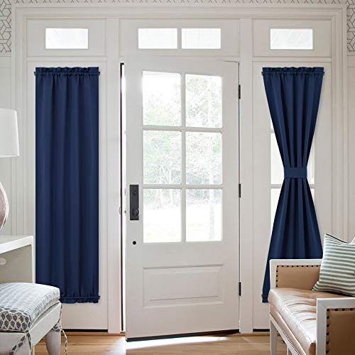 NICETOWN Blackout French Door Curtain - Thermal Insulated Side Door Window Curtain Panel Drape for Front Entry Way/Kitchen/Dining Room/Bathroom, Navy Blue, 1 Panel, 25W by 72L inches (Door Drapes Front)