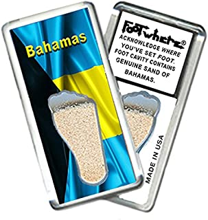 "product image for Bahamas""FootWhere"" Fridge Magnet (BH203 - Flag). Authentic destination souvenir acknowledging where you've set foot. Genuine soil of featured location encased inside foot cavity. Made in USA"