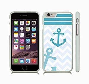 iStar Cases? iPhone 6 Plus Case with Chevron Pattern Shaded Blue Teal/ White Stripes Teal Anchor , Snap-on Cover, Hard Carrying Case (White)
