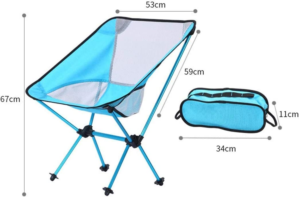QIAOXINGXING Camping Chair - Outdoor Portable Chair Aviation Aluminum Fishing Chair - (Color : Azure+black net) Dark Gray+white Net
