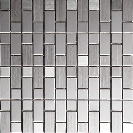 Textura de plata de acero inoxidable cocina Backsplash ...