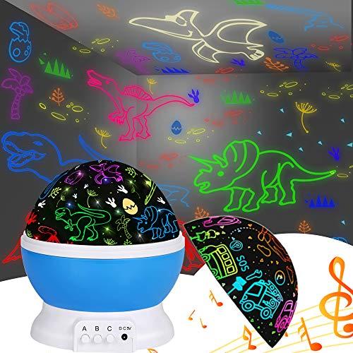 공룡 밤 빛 아이 밤 빛 프로젝터 내장 12 빛 노래 360 회전 16 다채로운 조명 어린이 생일 파티.아기 물건