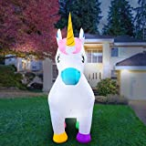 Holidayana 8-Foot Inflatable Unicorn Decoration, Great for All Events Including Birthdays, Valentines, Easter and Parties Includes Built-in Bulbs, Tie-Down Points, and Powerful Built in Fan