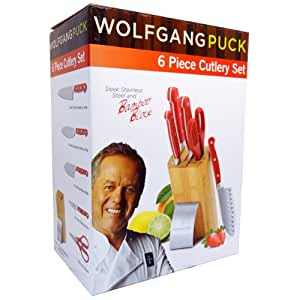 Amazon Com Wolfgang Puck 6 Piece Cutlery Set Red Block