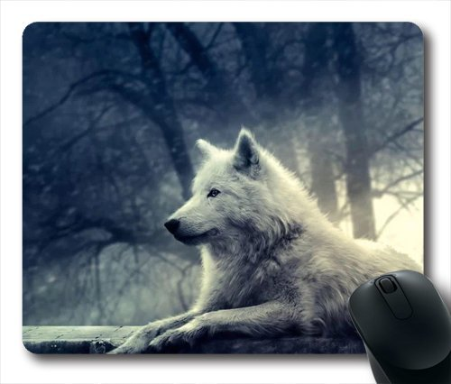 wskshop Triangles Mouse Pad, New Design Vintage White Wolf