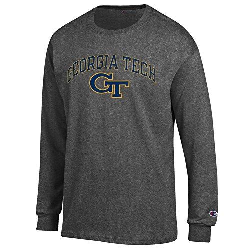 Elite Fan Shop Georgia Tech Yellow Jackets Long Sleeve Tshirt Varsity Charcoal - XL