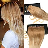 Sunny Beauty Straight Remy Clip in Human Hair Extensions One Piece with 5 clips ombre hair color 16-22inch