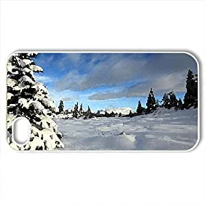 Winter Day - Case Cover for iPhone 4 and 4s (Winter Series, Watercolor style, White)