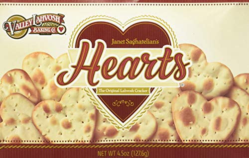 Valley Lahvosh Hearts Crackers 4.5 oz (Pack of 4) (Heart Shaped Food)