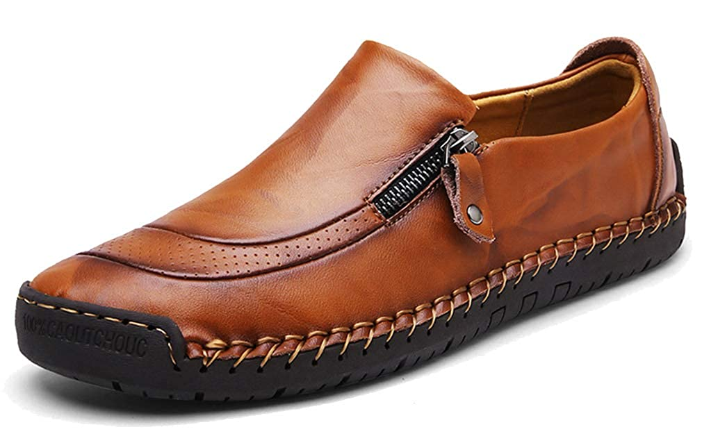 Femaroly Men Formal Business Leather Shoes Loafers Loafers Loafers Handmade Round Toe Slip-on Driving Waterproof Oxfords 11M|Brown B07GT5JPNZ 736fb7