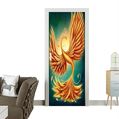 Door Sticker Wall Decals Magical Charming Bird Feathers Swirls Work Marigold and Emerald Easy to Peel and StickW31 x H79 INCH