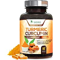 Turmeric Curcumin with BioPerine 95% Curcuminoids 1950mg with Black Pepper for Best Absorption, Made in USA, Most Powerful Joint Support, Turmeric Supplement Pills by Natures Nutrition – 180 Capsules