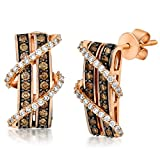 LeVian 0.66 Carat Vanilla & Chocolate Diamond Crossover Double Bar Earrings in 14K Rose Gold
