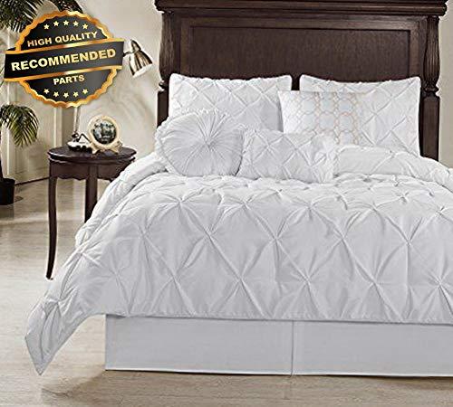 (Gatton Premium New Sydney 7 Piece Pintuck Comforter Set, Queen, White | Style Collection Comforter-311012933)