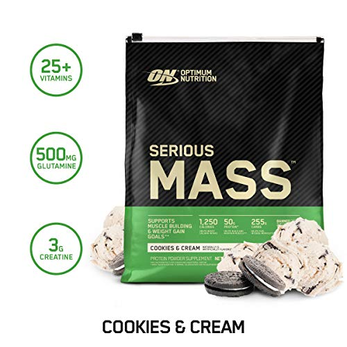 Optimum Nutrition Serious Mass Weight Gainer Protein Powder, Vitamin C, Zinc and Vitamin D for Immune Support, Cookies & Cream, 12 Pound (Packaging May Vary)