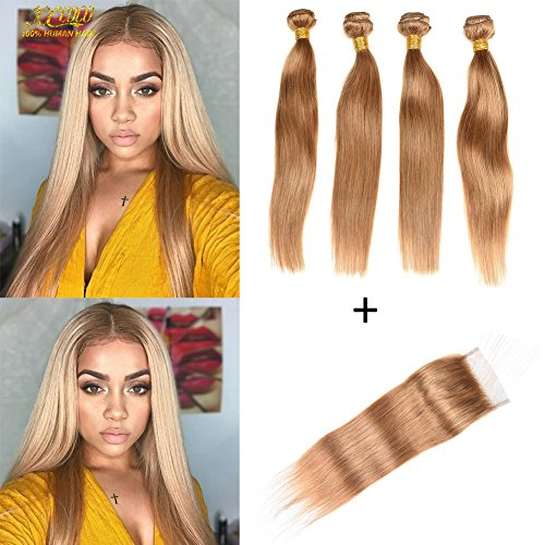XCCOCO Hair Honey Blonde 4 Bundles Peruvian Silk Straight Hair with 4x4 Lace Closure Cheap 8A Pure Blonde Color 27# Remy Virgin Human Hair Bundles with Closure(12 14 16 18inch+10inch Closure) by XCCOCO Hair